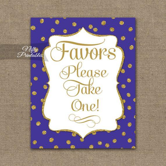 Favors Sign - Purple Gold Dots
