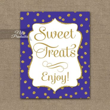 Sweet Treats Dessert Sign - Purple Gold Dots
