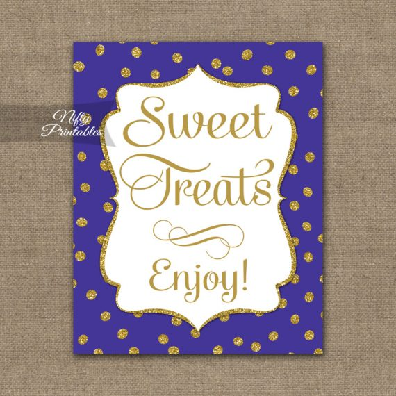 Sweet Treats Dessert Sign - Purple Gold Dots