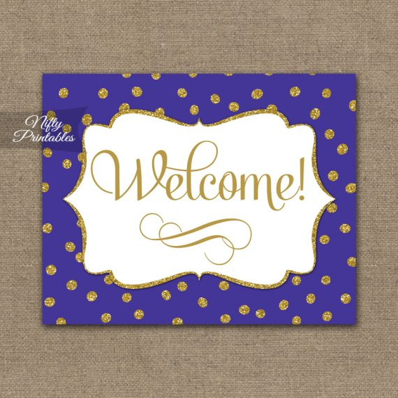 Welcome Sign - Purple Gold Dots