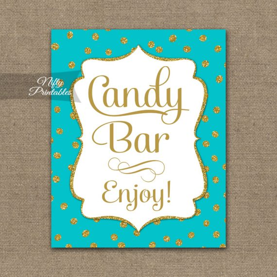 Candy Buffet Sign - Turquoise Gold Dots