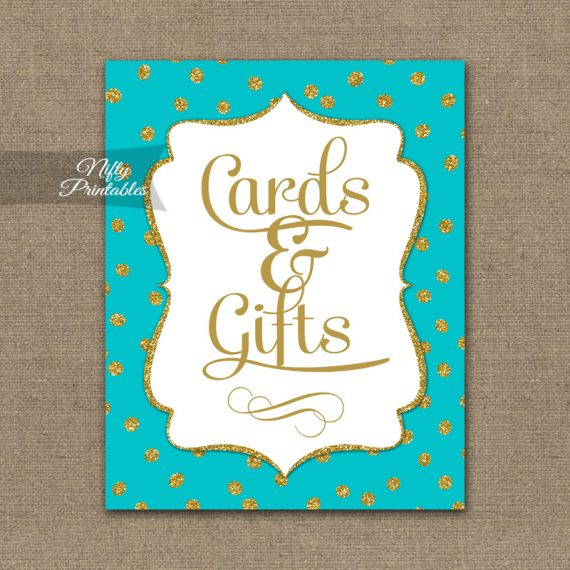Cards & Gifts Sign - Turquoise Gold Dots