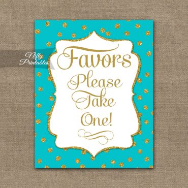 Favors Sign - Turquoise Gold Dots