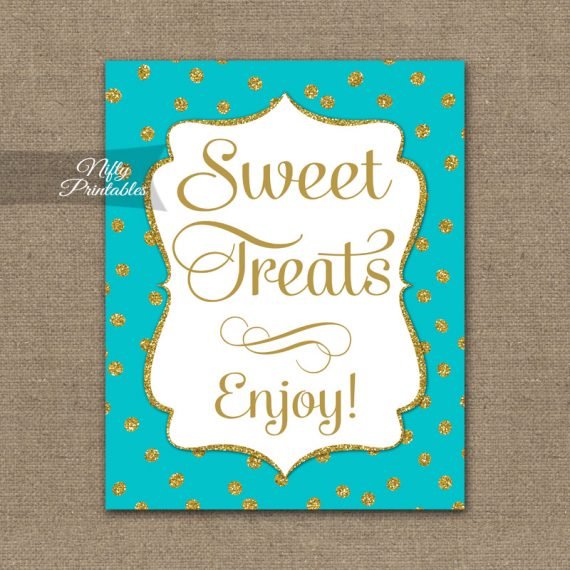 Sweet Treats Dessert Sign - Turquoise Gold Dots