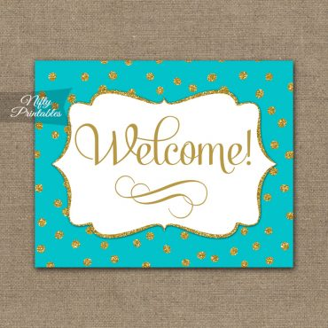 Welcome Sign - Turquoise Gold Dots