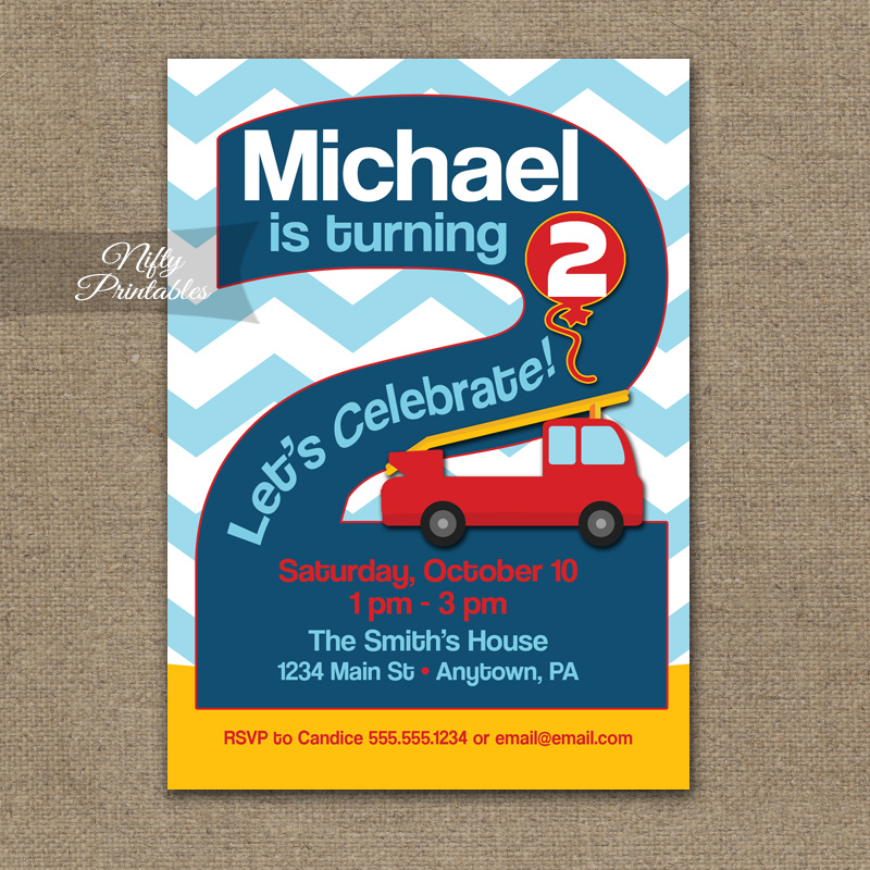 2nd Fire Truck Birthday Fireman Birthday Two Years Old – Fire Truck Birthday Invitation