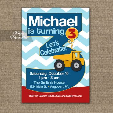 3rd Birthday Invitation - Construction