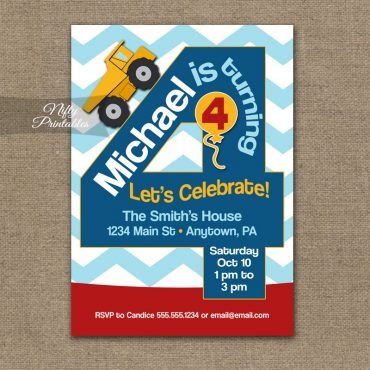 4th Birthday Invitation - Construction