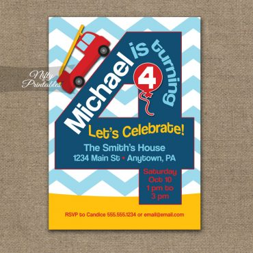 4th Birthday Invitation - Fire Truck Fireman