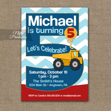 5th Birthday Invitation - Construction