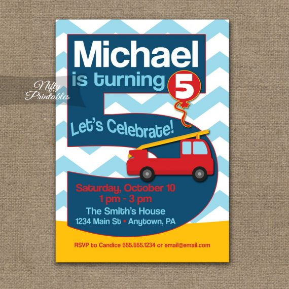 5th Birthday Invitation - Fire Truck Fireman