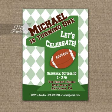 1st Birthday Invitation - Football 1st Birthday