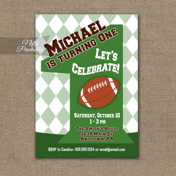 1st Birthday Invitation - Football 1st Birthday
