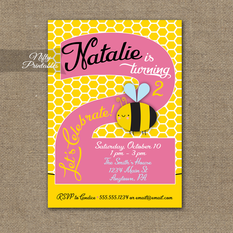 2nd Birthday Invitation Bumble Bee Invitations