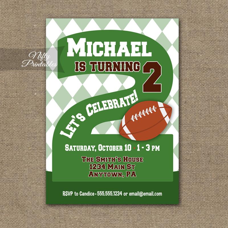 2nd Birthday Invitation Football 2nd Birthday Nifty Printables