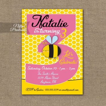 3rd Birthday Invitation - Bumble Bee Birthday Invitations