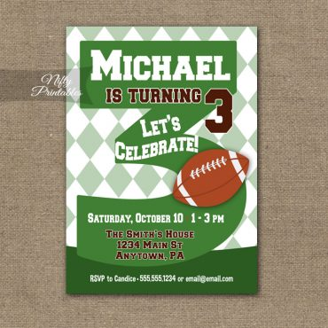 3rd Birthday Invitation - Football 3rd Birthday