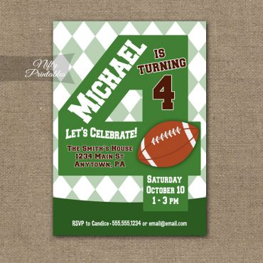 4th Birthday Invitation - Football 4th Birthday
