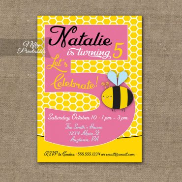 5th Birthday Invitation - Bumble Bee Birthday Invitations