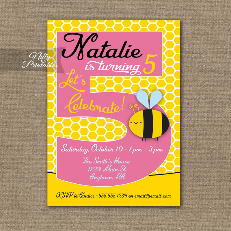 5th Birthday Invitation Bumble Bee Invitations