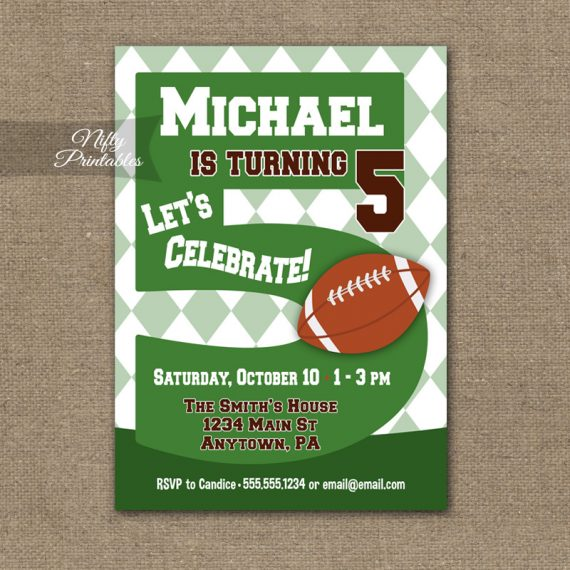 5th Birthday Invitation - Football 5th Birthday
