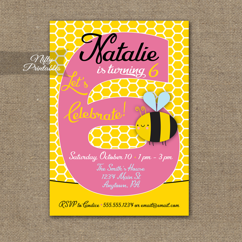 6th Birthday Invitation Bumble Bee Invitations