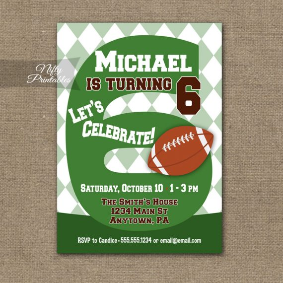 6th Birthday Invitation - Football 6th Birthday