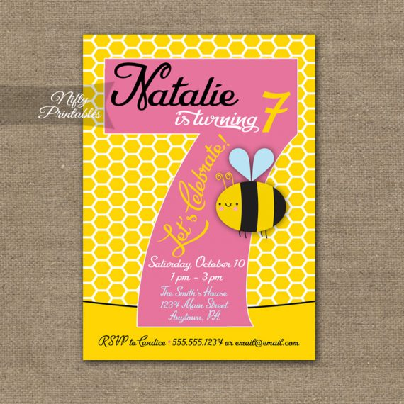 7th Birthday Invitation - Bumble Bee Birthday Invitations