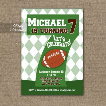 7th Birthday Invitation - Football 7th Birthday