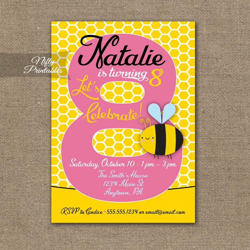 8th Birthday Invitation Bumble Bee Invitations