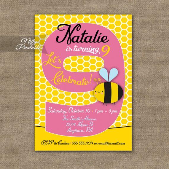 9th Birthday Invitation - Bumble Bee Birthday Invitations