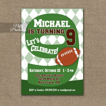 9th Birthday Invitation - Football 9th Birthday