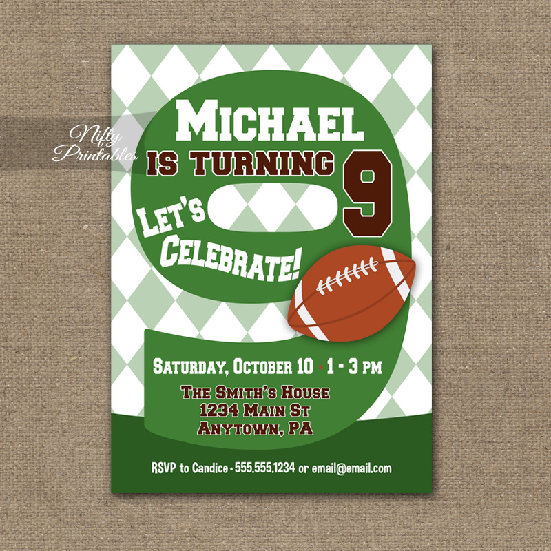 9th Birthday Invitation Football 9th Birthday Nifty Printables