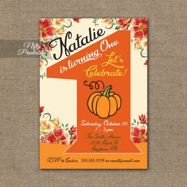 1st Birthday Invitation - Pumpkin Birthday Invitation