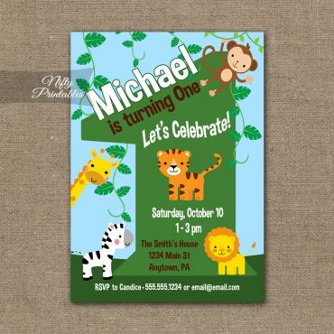 1st Birthday Invitation - Safari Birthday Invitation