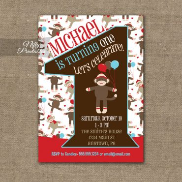 1st Birthday Invitation - Sock Monkey Birthday Invitation