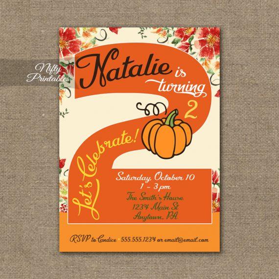 2nd Birthday Invitation - Pumpkin Birthday Invitation