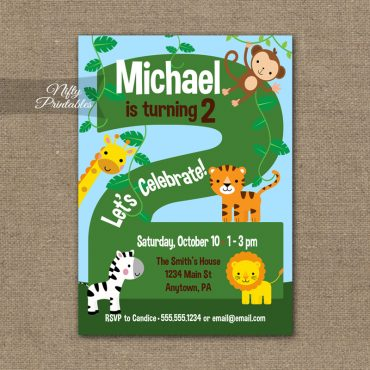 2nd Birthday Invitation - Safari Birthday Invitation