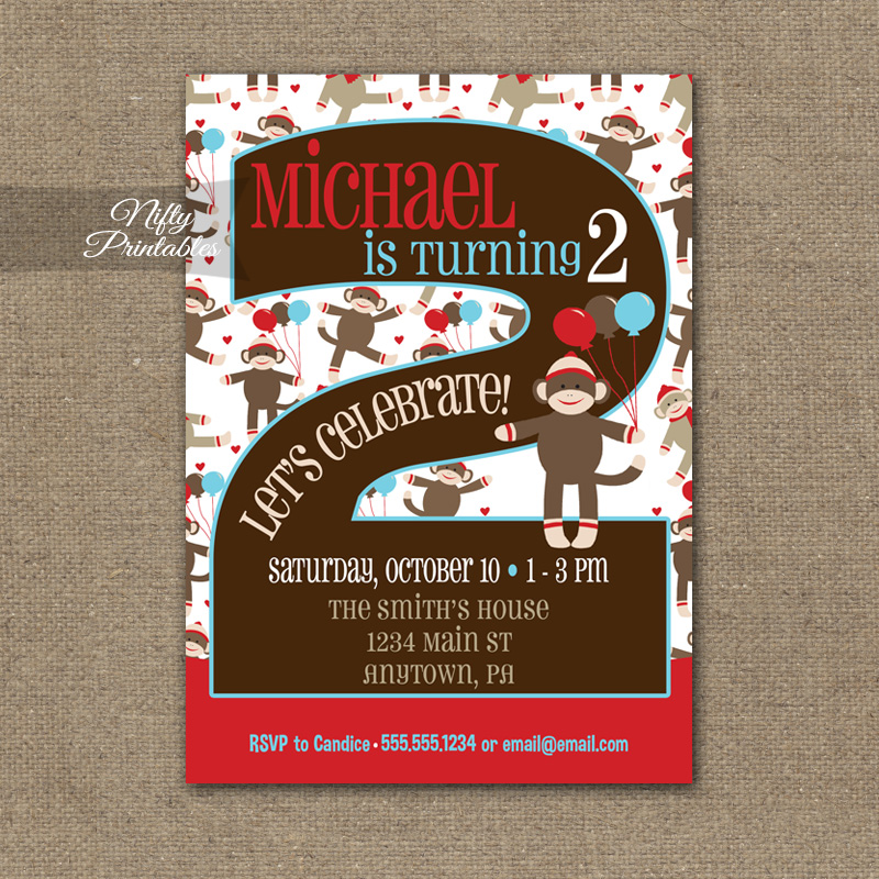 2nd Birthday Invitation Sock Monkey