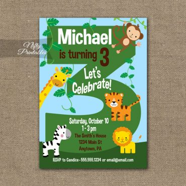 3rd Birthday Invitation - Safari Birthday Invitation