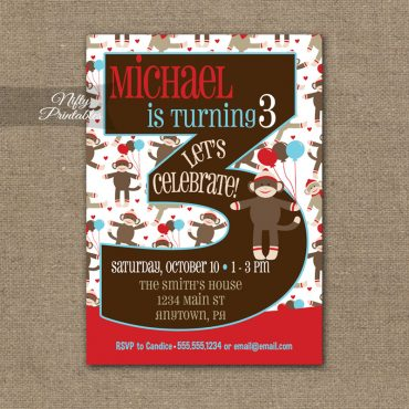 3rd Birthday Invitation - Sock Monkey Birthday Invitation