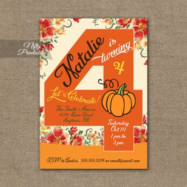 4th Birthday Invitation - Pumpkin Birthday Invitation
