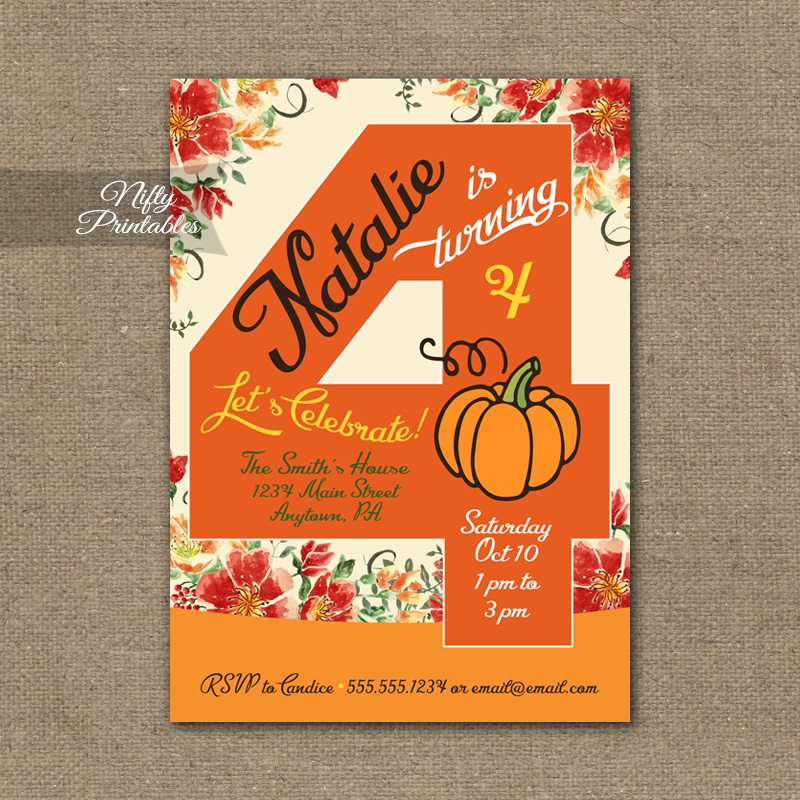 4th Birthday Invitation Pumpkin