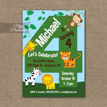 4th Birthday Invitation - Safari Birthday Invitation