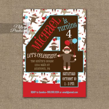 4th Birthday Invitation - Sock Monkey Birthday Invitation
