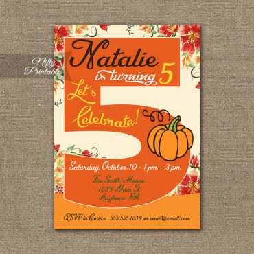 5th Birthday Invitation - Pumpkin Birthday Invitation