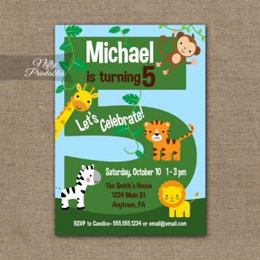 5th Birthday Invitation - Safari Birthday Invitation