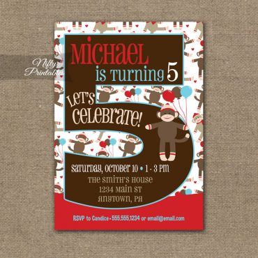 5th Birthday Invitation - Sock Monkey Birthday Invitation