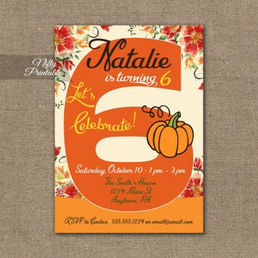 6th Birthday Invitation - Pumpkin Birthday Invitation