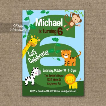 6th Birthday Invitation - Safari Birthday Invitation